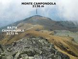 Via Normale Monte Campondola - Il Monte Campóndola visto dalla (q. 2501 m) sulla cresta SSE della Cima Finale