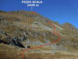 Via Normale Pizzo Scala - Vers. est - Il punto in cui si abbandona il sentiero segnalato