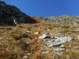 Via Normale Pizzo Scala - Vers. est - All'inizio del largo canale del versante E