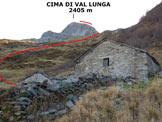 Via Normale Cima di Val Lunga - Cresta SW - Immagine ripresa dalla Casera Dordona (q. 1989 m)