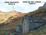 Via Normale Cima dei Lupi - Dalla Casera Dordona, nel rettangolo la Casera alta di Dordona e il largo stallone