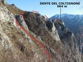 Via Normale Dente del Coltignone - Lungo la traversata dell'impervio versante W