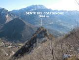 Via Normale Dente del Coltignone - In discesa dalla cresta WNW che conduce sulla vetta