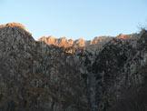 Via Normale Musi (Cima Ovest) - La cima (ultima a sinistra) dal  fondo Valle