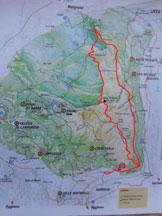 Via Normale Monte Barro  - La cartina del Parco del Monte Barro e in rosso l'itinerario ad anello