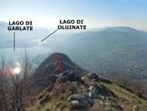 Via Normale Monte Barro  - Dalla vetta, panorama verso S e in rosso il Sentiero delle Creste