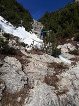 Via Normale Vajo delle Catene - Muretti rocciosi a inizio via