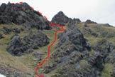 Via Normale Sass de Roca - Il canale erboso di salita