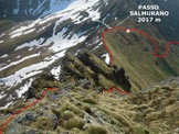 Via Normale Cima Piazzotti Orientale - Sull'impervio sentierino della cresta SE