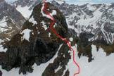 Via Normale Sass de Roca Est - Percorso alla cima