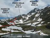Via Normale Pizzo di Emet (o Piz Timun) - da Nord - L'itinerario, ripreso dal Rifugio Bertacchi