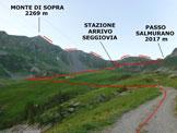Via Normale Monte di Sopra - L'itinerario di salita, dai pressi del Rifugio Salmurano