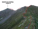 Via Normale Monte di Sopra - Lungo la cresta iniziale, qui orientata ad W