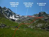 Via Normale Cima della Malgina - Immagine ripresa dalla Baita Cantarena (q. 2071 m)