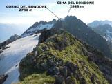 Via Normale Cima della Malgina - Dalla vetta, la crestina finale NE e il panorama