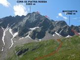 Via Normale Cima di Pietra Rossa (o Punta di Pietra Rossa) - Immagine ripresa da E, dall'itinerario di salita