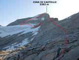 Via Normale Cima di Castello - dall'Allievi - Immagine ripresa dalla Bocchetta (q. 2973 m), sulla cresta SW