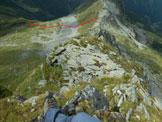 Via Normale Cima Vallocci - Cresta Ovest - Uno sguardo all'indietro dalla parte superiore della cresta W