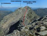 Via Normale Pizzo dell'Omo - Immagine ripresa dalla Quota 2758 m