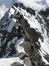 Via Normale Lyskamm traversata - Tratto di misto in cresta