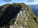 Via Normale Monte Pisello - Monte Lago - Al ritorno, il tratto di cresta attrezzato con catene tra il Monte Lago e il Monte Culino