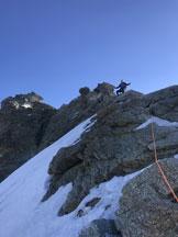 Via Normale Zinalrothorn - In cresta dopo la placca Biner