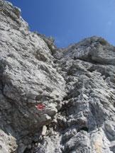 Via Normale Monte Brentoni - La ferrata lungo il diedro della via normale