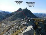 Via Normale Cima Laione - dalla Valle di Braone - Il panorama di vetta sul Cornone di Blumone e la sua via di salita