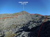 Via Normale Cima Laione - dalla Valle di Braone - In discesa, sulla cresta S