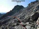 Via Normale Cornone di Blumone - dalla Valle di Braone - All'inizio del traverso del versante NE