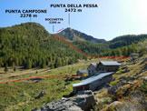 Via Normale Punta della Pessa - La Punta della Pessa e l'itinerario di salita, dalle Baite la Pessa (q. 1850 m)