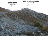 Via Normale Punta della Pessa - In salita, verso la Bocchetta sulla cresta N