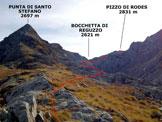 Via Normale Pizzo di Rodes - da Nord - Immagine ripresa alla Bocchetta di Santo Stefano (q. 2378 m)