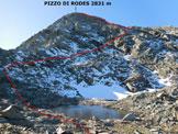 Via Normale Pizzo di Rodes - da Nord - L'itinerario, dalla pozza (q. 2686 m)