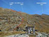 Via Normale Cime Giumella - Immagine ripresa dalla cima del Dosso Giumella (q. 2120 m)