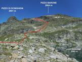 Via Normale Pizzo Barone - L'itinerario, dal Lago Barone