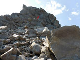 Via Normale Pizzo Penca - La parte superiore della cresta W del Pizzo Penca e la parete di II°