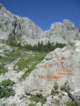 Via Normale Creta di Pricot - sasso con le indicaizoni