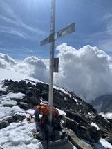 Via Normale Aletschhorn cresta sud-ovest - La croce di vetta