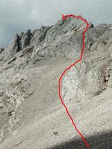 Via Normale Torre Armena - Itinerario sul ghiaione.
