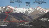 Via Normale Monte Garzirola - Monte Lungo - La traversata ripresa dal paese di Cusino