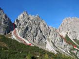 Via Normale Punta del Mus - La cima da poco sopra il Rif. Pacherini con percorso di salita e discesa
