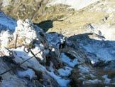 Via Normale Cima Manera - Prima neve sulla cresta di salita