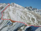 Via Normale Costone Valbona - La cresta di salita vista dal M. Trabucco