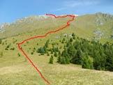 Via Normale Monte Vaccio - Il percorso di salita dalla sella col Dosso isiga