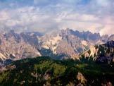 Via Normale Punta del Borsat - Spalti e Monfalconi dalla cima. Il Campanile al centro.