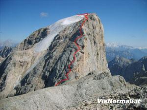 Via Normale Marmolada - Punta Penia (cresta W)