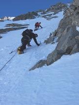 Via Normale Mont Dolent - Uscita dal canalino