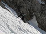 Via Normale Pizzo Presolana W - Invernale - All�inizio del primo canalino (foto M. Piazzalunga)
