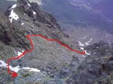 Via Normale Uja di Mondrone - Il canalone di salita visto scendendo